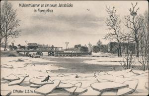 Ansichtskarte  Nowojelina WK1 Jatrabrücke gel. Feldpost 1917