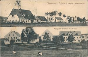 Ansichtskarte Fürstenau-Altenberg (Erzgebirge) 2 Bild Gasthaus 1915