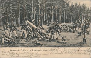 Donnernde Grüße Schießplatz WAHN Soldaten am Geschütz 1. WK 1918