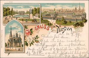 Litho AK Südvorstadt-Dresden Litho-AK mit Zwinger,  Russische Kirche 1897