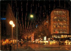 Zürich Bahnhofsstraße Weihnachtsbeleuchtung Geschäfte bei Nacht 1983