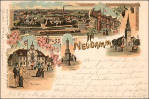 Litho AK Neudamm (Neumark) Dębno Totale, Bahnhof, Post 1898