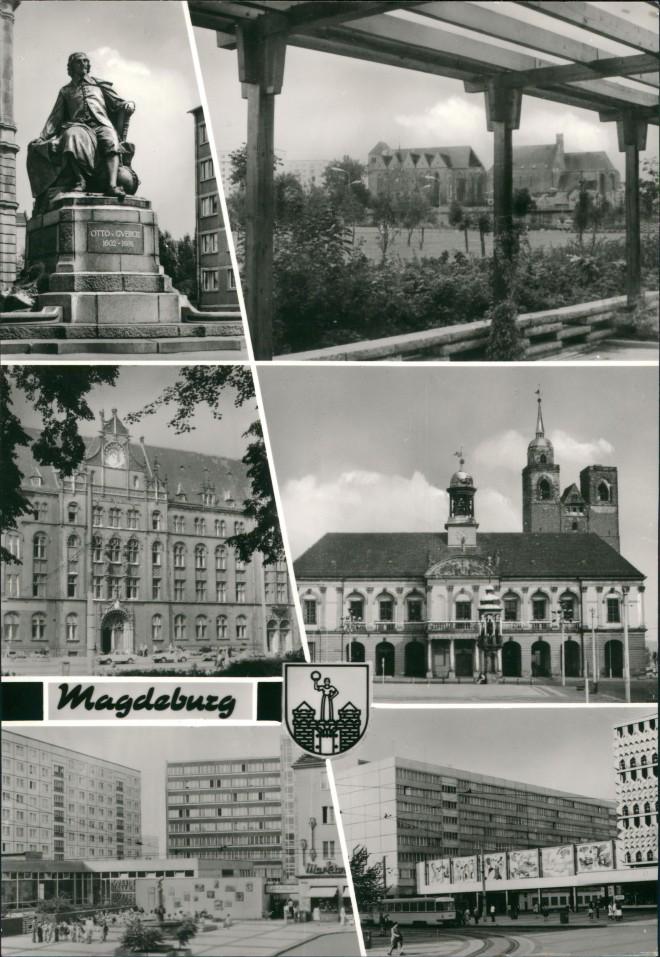 Magdeburg DDR Mehrbild-AK ua. Hauptpost, Breiter Weg, Denkmal uvm. 1970 0