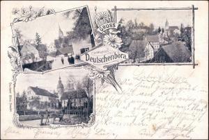 Ansichtskarte Deutschenbora-Nossen 3 Bild: Kirche, Straße 1902