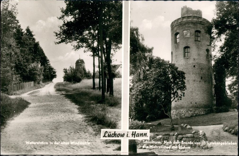 Lüchow (Wendland) Wetterstation i.d. altern Windmühle, Schloss-Turm  1967 0
