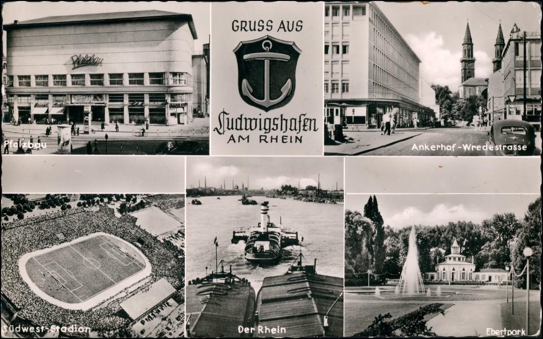 Ludwigshafen MB-AK Pfalzbau, Südwest-Stadion Luftaufnahme, Ankerhof uvm. 1966 0