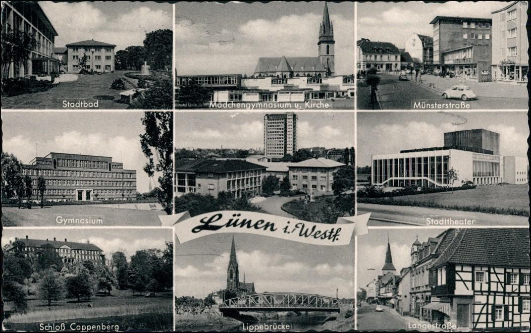 Lünen (Westfalen) MB Gymnasium, Münsterstr., Theater, Lippe-Brücke, Schloß 1969 0