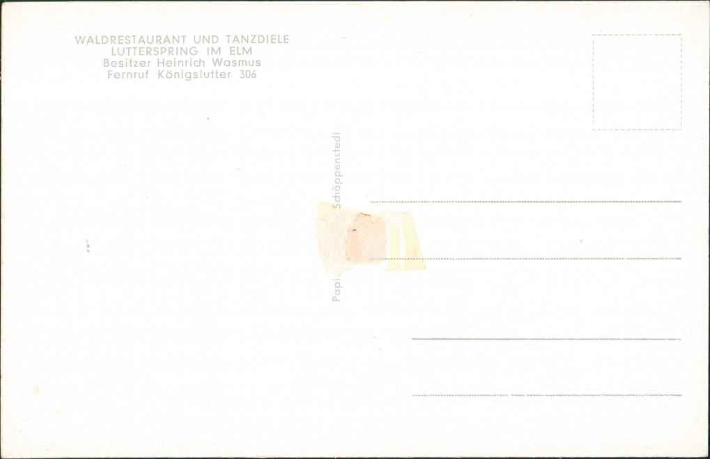 Königslutter (Elm) WALDRESTAURANT TANZDIELE LUTTERSPRING IM ELM Besitzer 1950 1