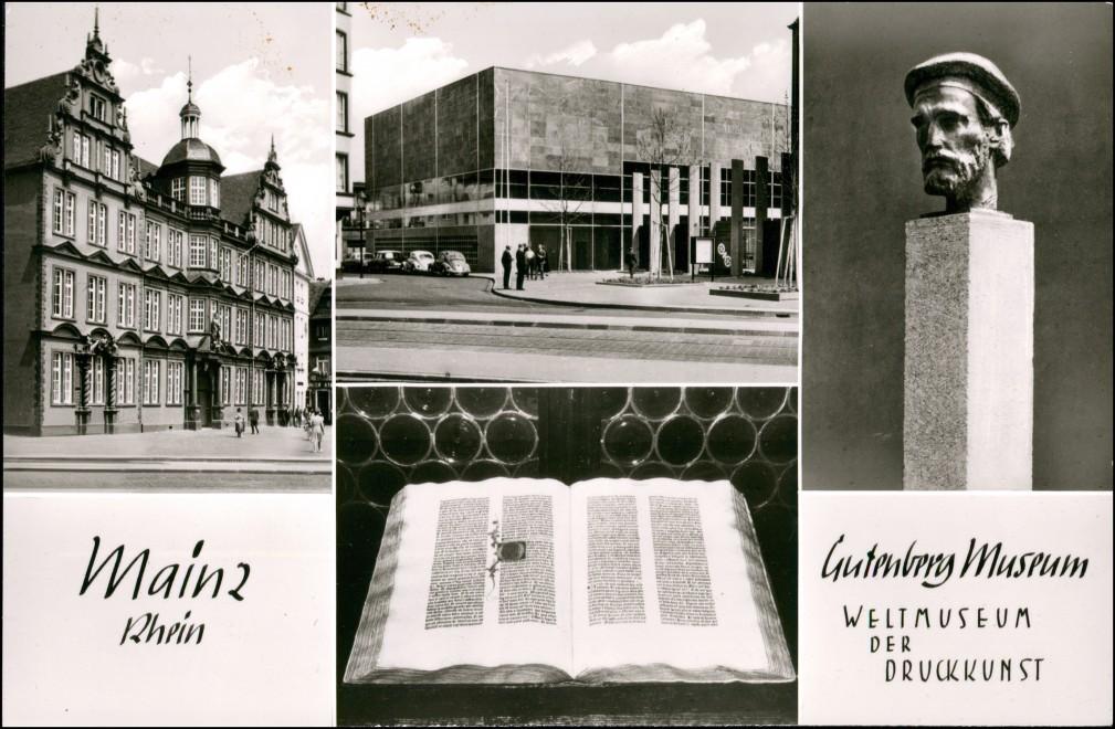 Ansichtskarte Mainz Mehrbild-AK Welt-Museum Druckkunst Gutenberg Museum 1955 0