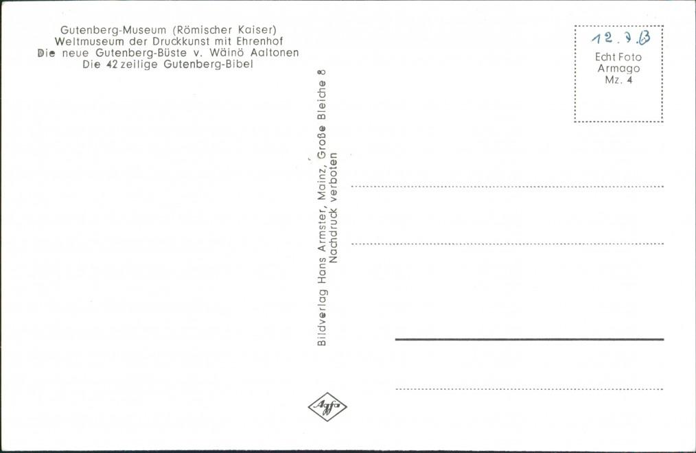 Ansichtskarte Mainz Mehrbild-AK Welt-Museum Druckkunst Gutenberg Museum 1955 1