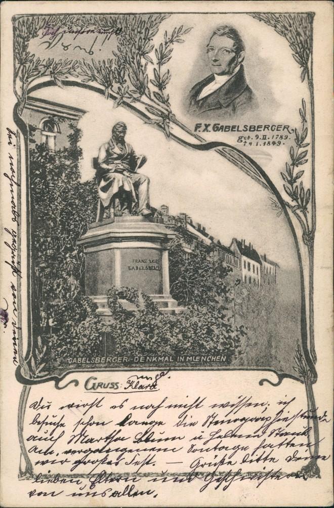 Ansichtskarte München 2 Bild Denkmal Gabelsberg 1908 0