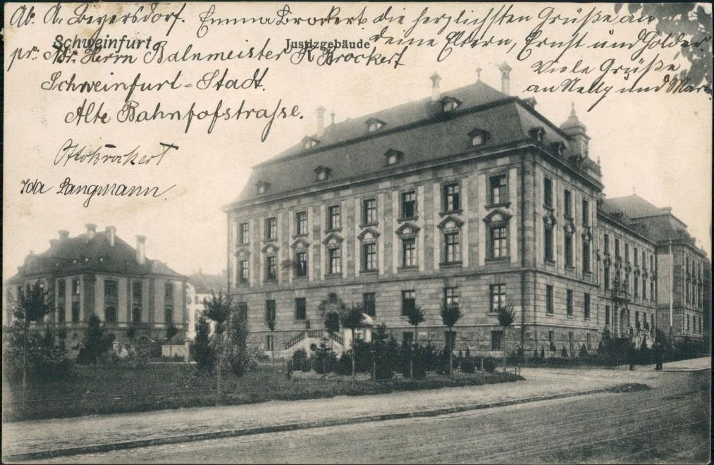 Ansichtskarte Schweinfurt Straßenpartie Justizgebäude 1907 0