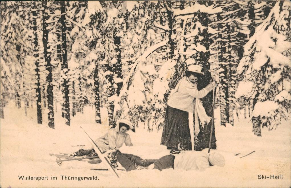 Ansichtskarte .Thüringen Thüringer-Wald Skifahrerin Winter 1912 0