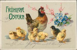 Ansichtskarte  Henne Küken Ostern / Oster-Karten 1914 Prägekarte