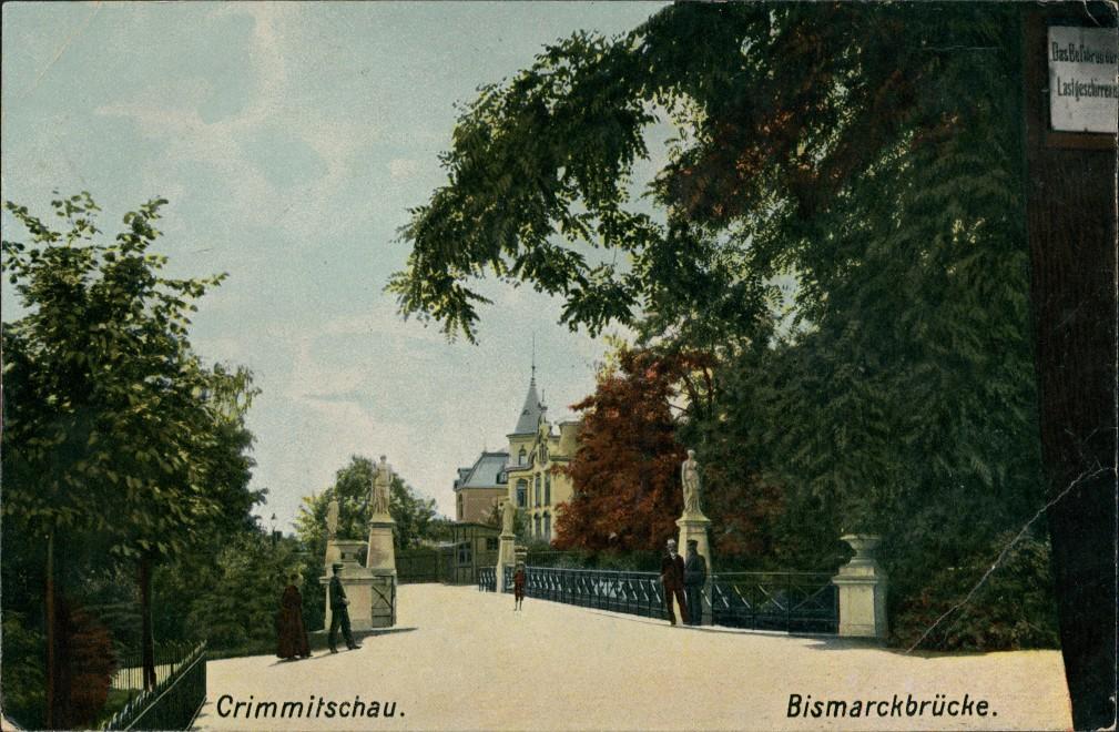 Ansichtskarte Crimmitschau Straßenpartie Bismarckbrücke 1908 0