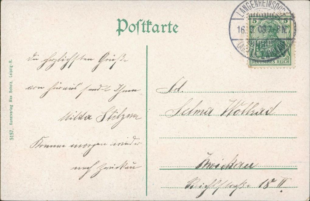 Ansichtskarte Crimmitschau Straßenpartie Bismarckbrücke 1908 1