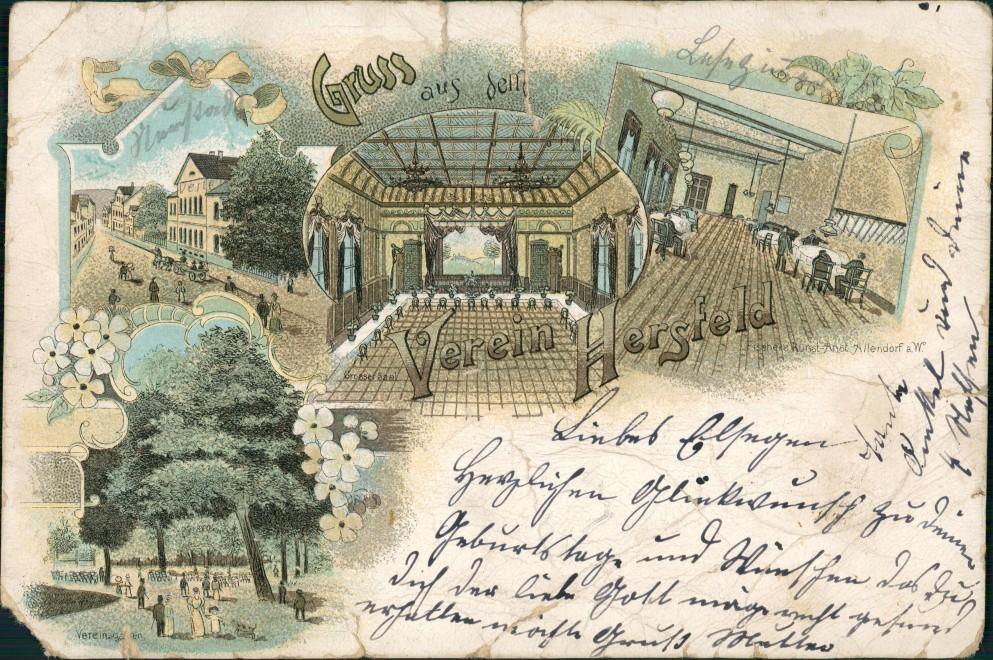 Ansichtskarte Litho AK Bad Hersfeld MB Verein Straße Innen 1901 0