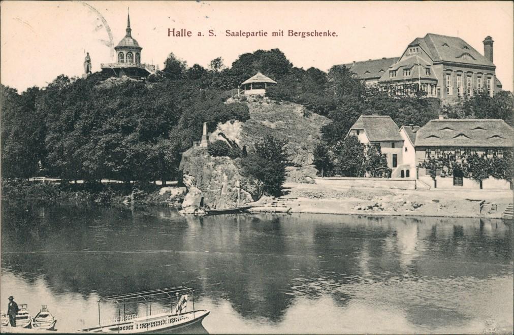 Ansichtskarte Halle (Saale) Bergschenke Saalepartie 1910 0