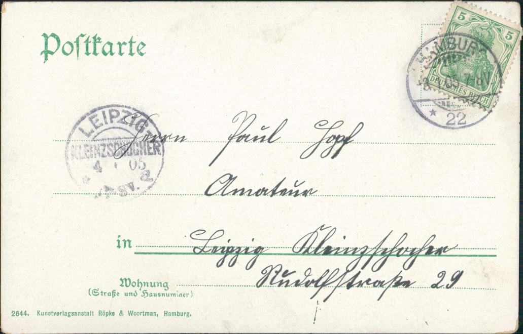 Ansichtskarte Hamburg Alsterpavillon - Künstlerkarte 1905 1