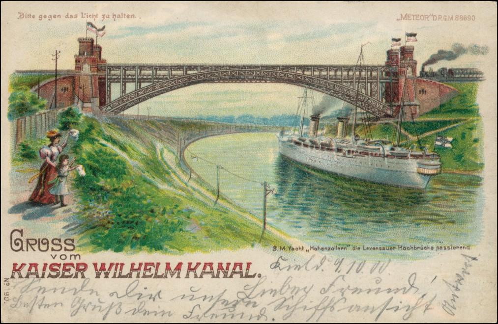 Holtenau-Kiel Holtenå Kaiser-Wilhelm-Kanal Halt gegen das Licht 1900 0