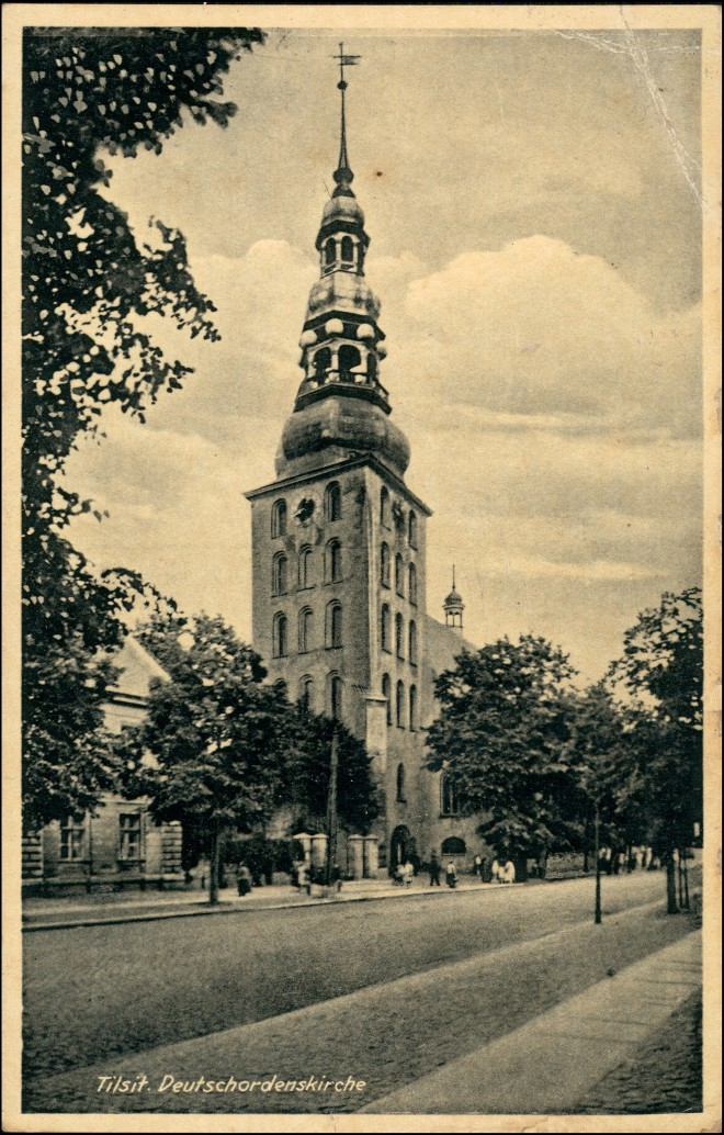 Postcard Tilsit Советск Straßenpartie Ordenskirche 1940 0