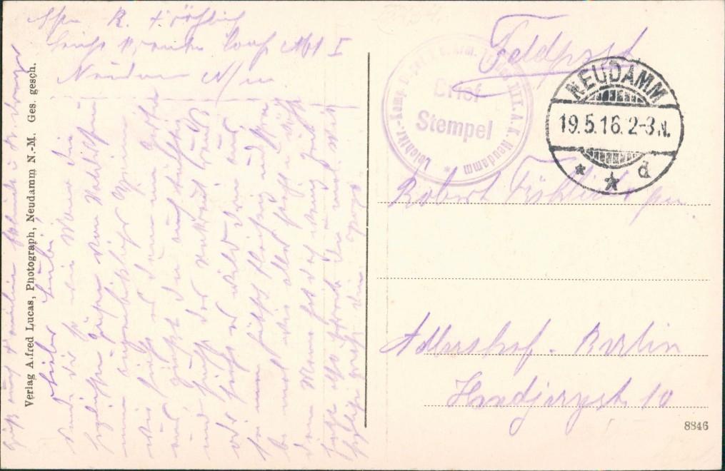 Neudamm (Neumark) Dębno 2B Waldessaum Kr. Königsberg Neumark Chojna 1916 1