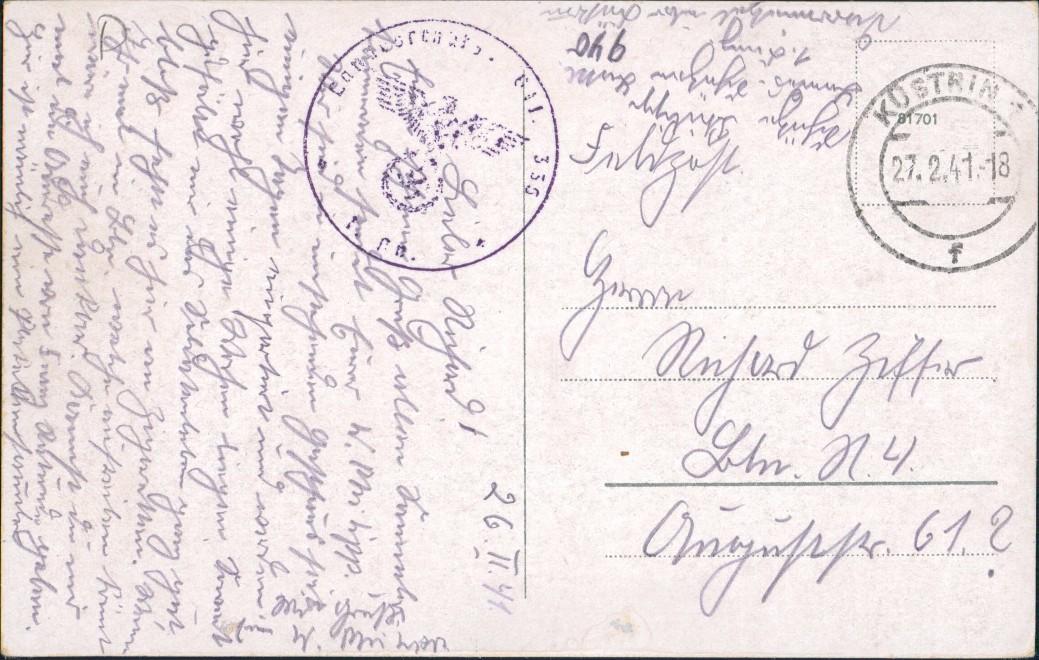 Darrmietzel Dargomyśl 3 B: Gasthaus - Auto b Neudamm Königsberg Neumark 1941 1