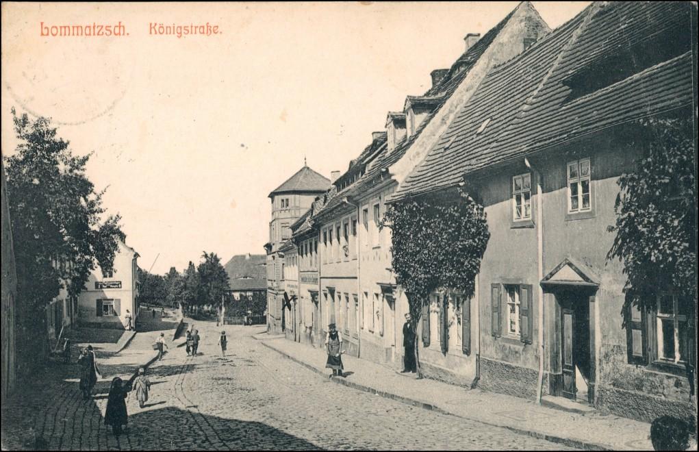 Ansichtskarte Lommatzsch Königstraße 1911 0