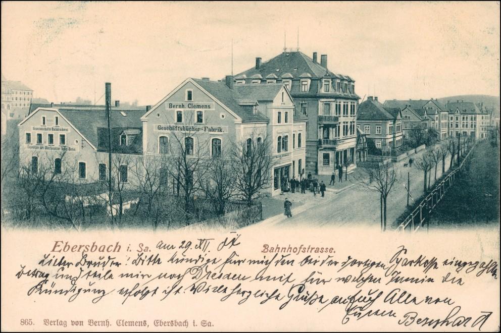 Ebersbach/Sa.-Ebersbach-Neugersdorf Bahnhofstraße Fabrik Bern Clemens 1904 0