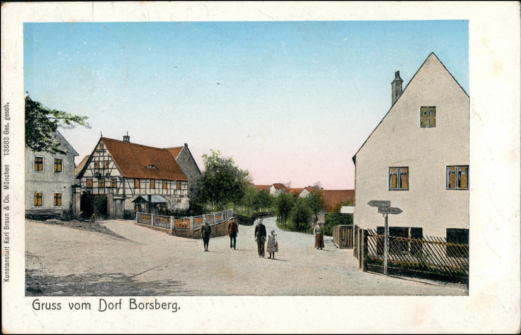 Schönfeld - Weißig-Dresden Borsberg - Straße Goldfenster 1909 Goldrand 0