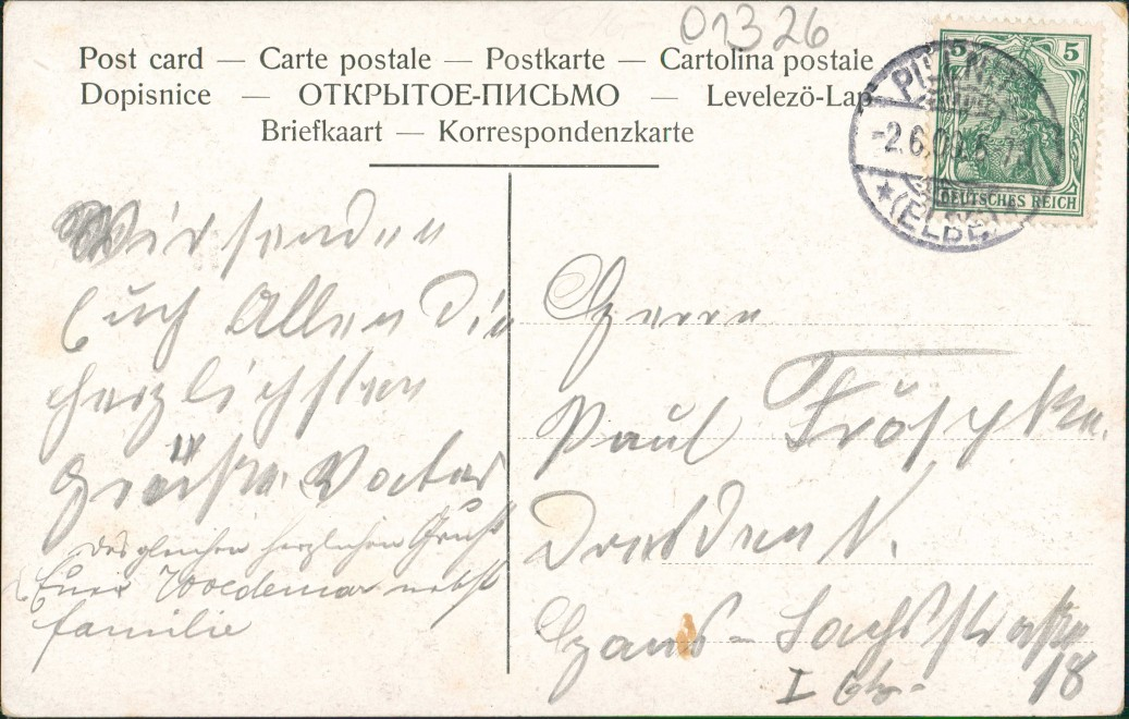 Schönfeld - Weißig-Dresden Borsberg - Straße Goldfenster 1909 Goldrand 1