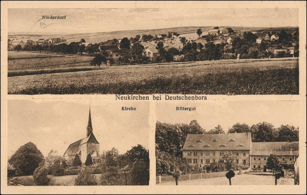 Ansichtskarte Deutschenbora-Nossen Neukirchen Rittergut Kirche 1936 0