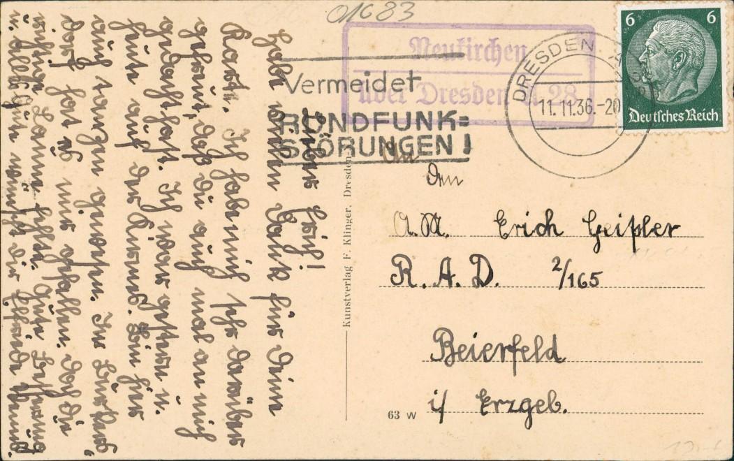 Ansichtskarte Deutschenbora-Nossen Neukirchen Rittergut Kirche 1936 1