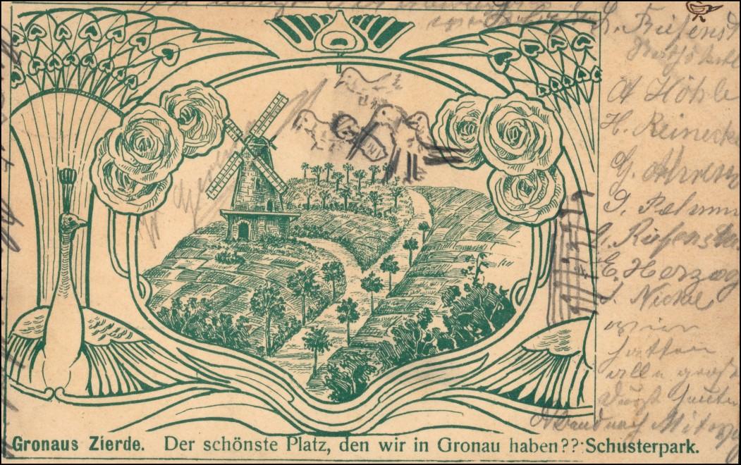 Ansichtskarte Gronau (Leine) Windmühle Jugendstil Künstlerkarte 1905 0