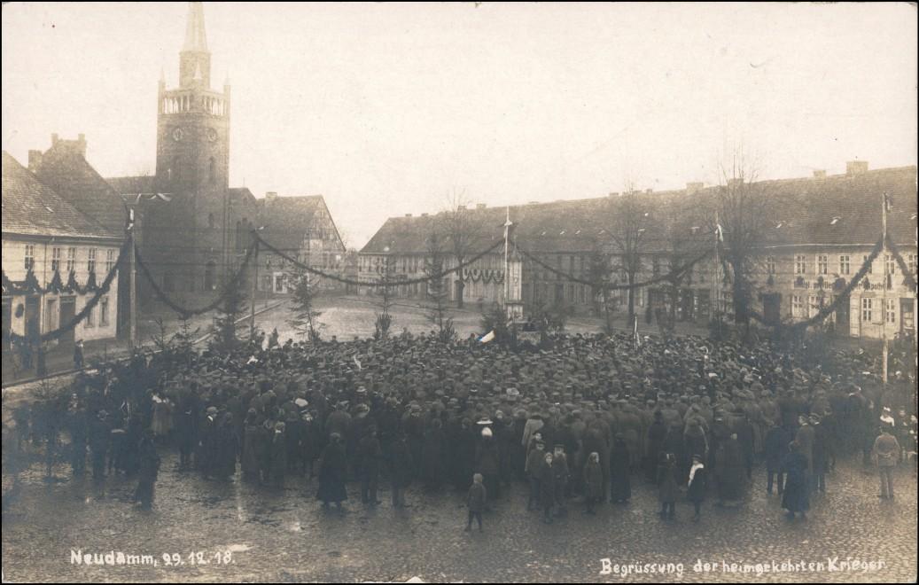 Neudamm (Neumark) Dębno Begrüßung der Rückkehrer Wk1 b Königsberg 1918 0