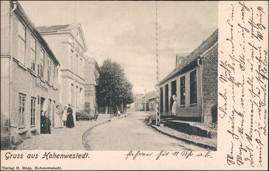 Ansichtskarte Hohenwestedt Straßenpartie Gasthaus 1904 0