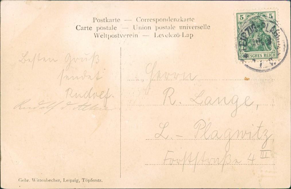 Ansichtskarte Leipzig Künstlerkarte Abschied der Abiturienten 1907 1