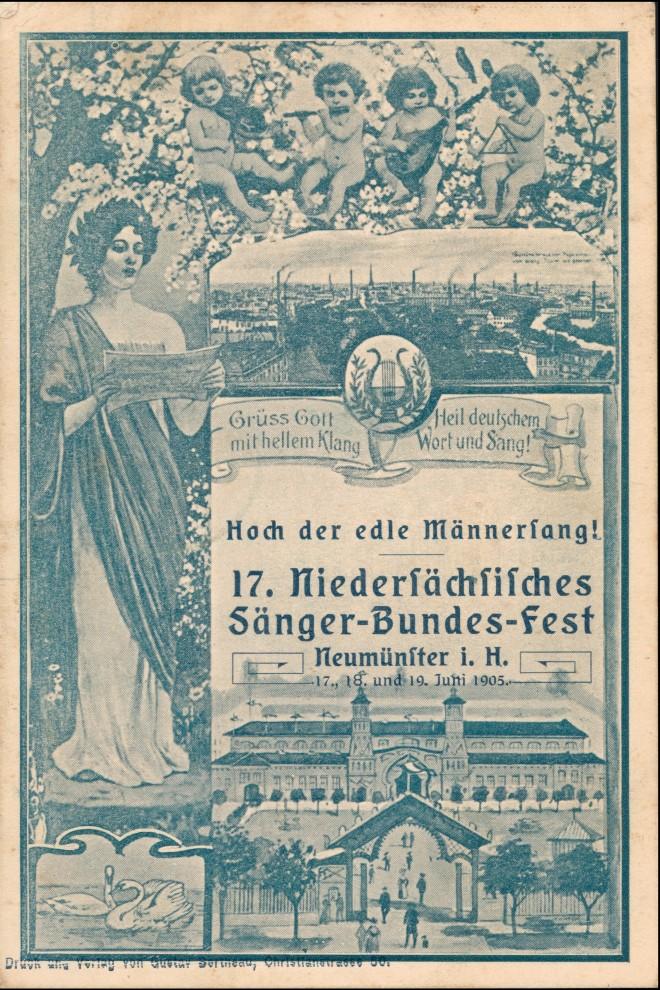 Neumünster MB Jugendstil Sängerbundesfest Jugendstil Engel 1905 0