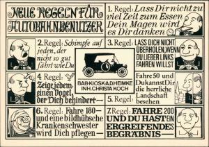 Ansichtskarte  Regeln für Autobahn-Benutzer, Humor-Karte, Illustration 1950