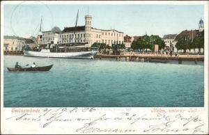 Postcard Swinemünde Świnoujście Hafen, Hotel, Dampfer 1906