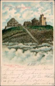Krummhübel Karpacz Schneekoppe/Sněžka/Śnieżka über den Wolken 1901 Prägekarte