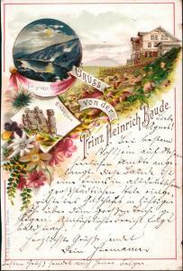 Postcard Litho AK Krummhübel Karpacz Prinz-Heinrich-Baude 1894