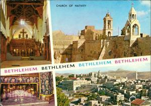 Bethlehem בֵּית לֶחֶם بيت لحم Kirche Church of Nativity Multi-View Postcard 1970
