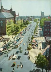 Kopenhagen København HANS ANDERSENS BOULEVARD/Straßenbahn, Strasse belebt  1960