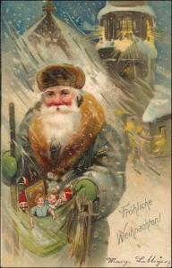 Weihnachtsmann Früher Winterstimmung Weihnachten 1905 Prägekarte