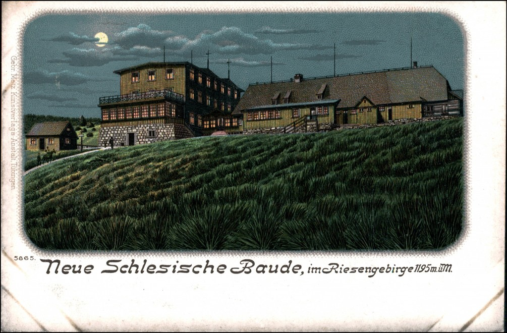 Litho AK Schreiberhau Szklarska Poręba Neue schlesische Baude Mondschein 1906 0