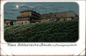 Litho AK Schreiberhau Szklarska Poręba Neue schlesische Baude Mondschein 1906