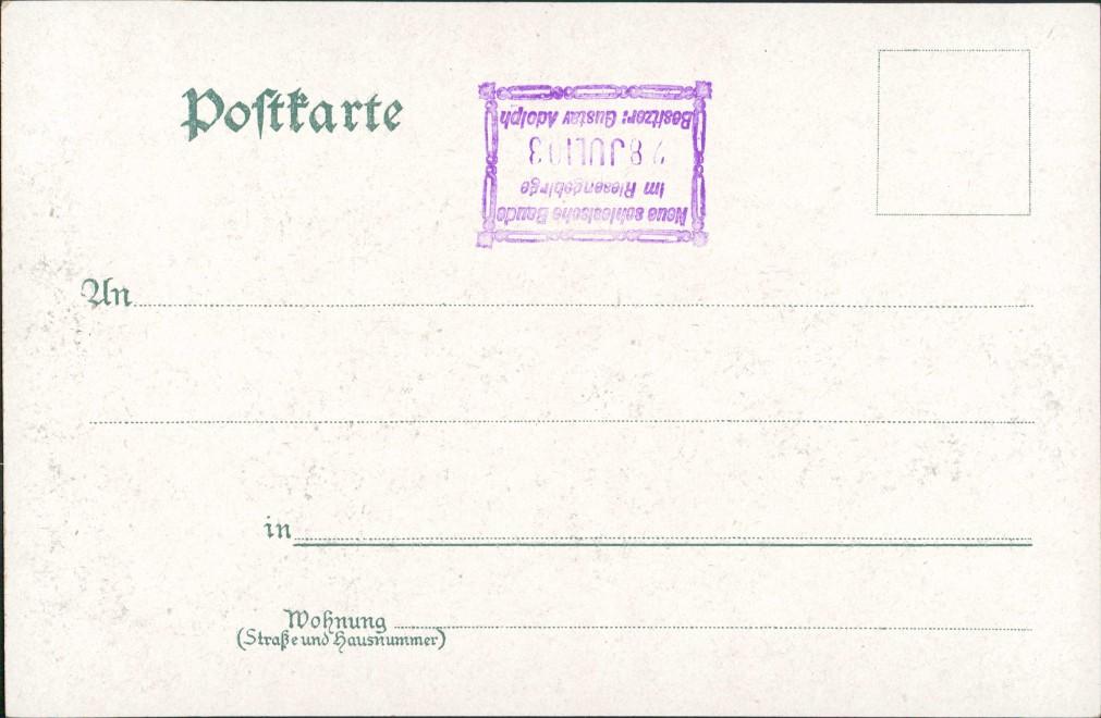 Litho AK Schreiberhau Szklarska Poręba Neue schlesische Baude Mondschein 1906 1