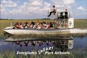 Postcard Miami Air Boat Safari Park People Photo-Shooting 1990