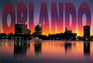 Postcard Orlando Stadt-Ansicht Abendrot Night View City Scene 2000